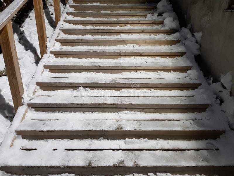 Lång hal och snöig trästaricase i vintertid royaltyfria bilder