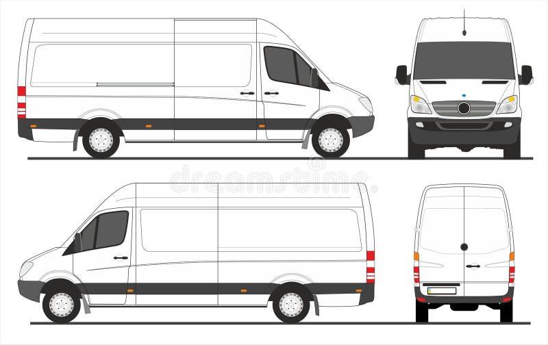 Lång hjulbas för sprinterskåpbil stock illustrationer