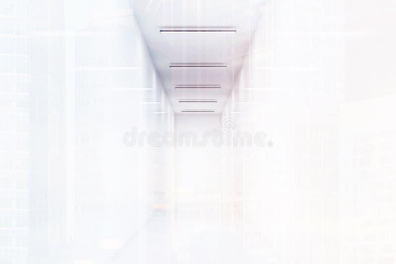 Lång kontorskorridor med vita väggar Mycket ljust ljus Begrepp av ett lyckat företag vektor illustrationer