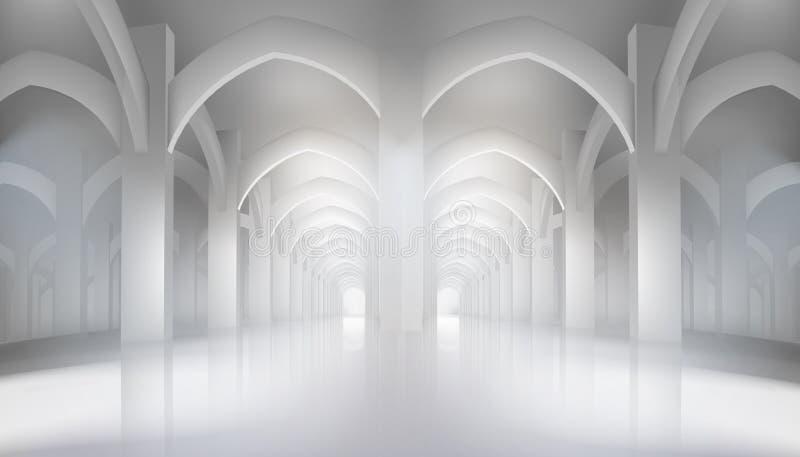 Lång korridor i historisk inre också vektor för coreldrawillustration stock illustrationer