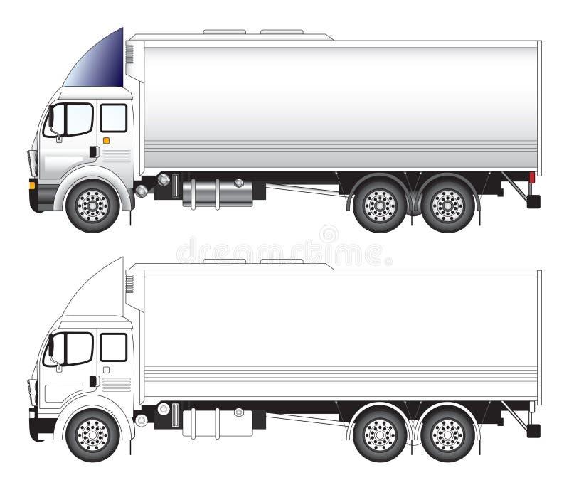 lång lastbilvektor för illustration royaltyfri illustrationer