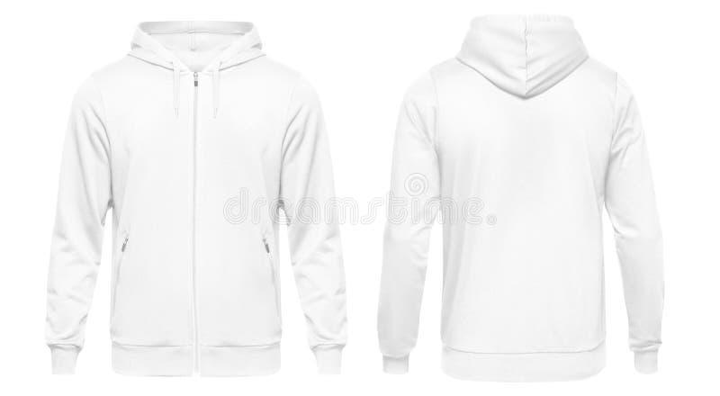 Lång muff för vit manlig hoodietröja med urklippbanan, mäns hoody designmodell för tryck som isoleras på vit bakgrund royaltyfri foto