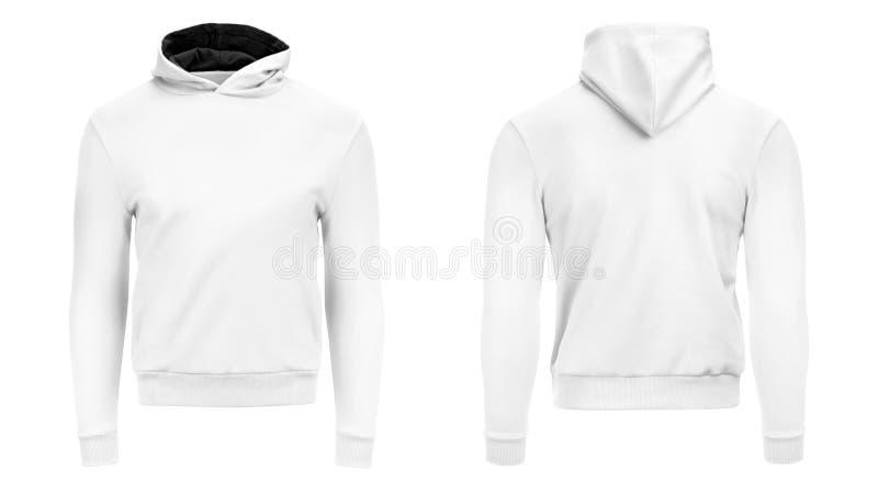 Lång muff för vit manlig hoodietröja med urklippbanan, mäns hoody designmodell för tryck som isoleras på vit bakgrund royaltyfria bilder