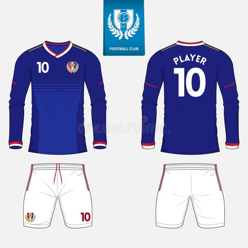 Lång mufffotbollärmlös tröja eller fotbollsatsmall för fotbollklubba Fotbollskjortaåtlöje upp Likformig för framdel- och baksidas royaltyfri illustrationer