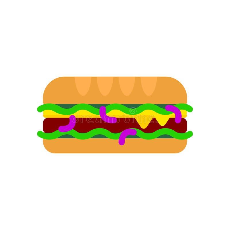 Lång ostburgarelägenhetsymbol, vektortecken, färgrik pictogram som isoleras på vit vektor illustrationer