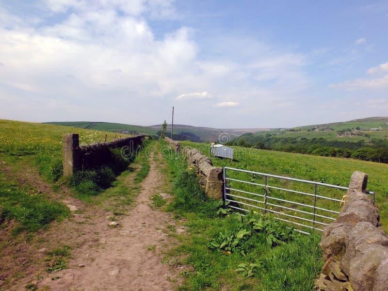 Lång rak landsgränd mellan två stenväggar med en port som leder in i betesmark i molnig himmel för ljusa sommarsolljusblått royaltyfri bild