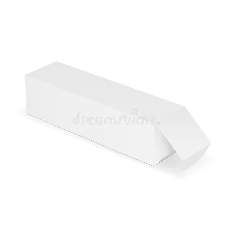 Lång rektangulär kartong med det öppnade locket - sidosikt stock illustrationer