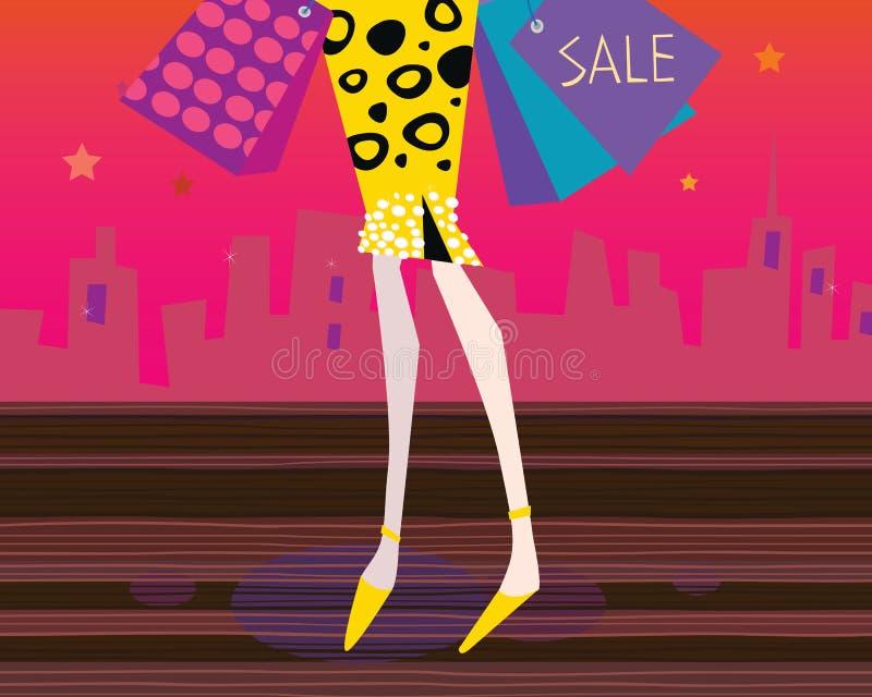 lång shoppingkvinna för ben vektor illustrationer