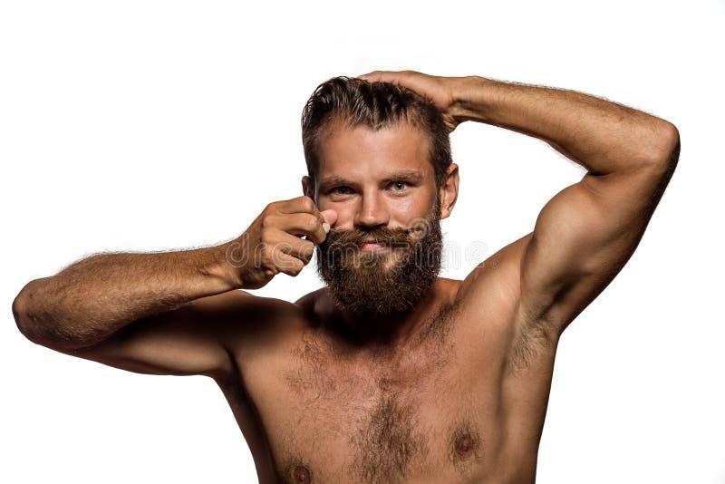 Lång skägg- och mustaschhipster fotografering för bildbyråer