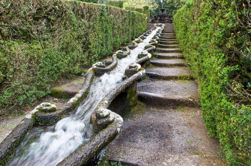 Lång springbrunn för vattenflöde royaltyfri bild