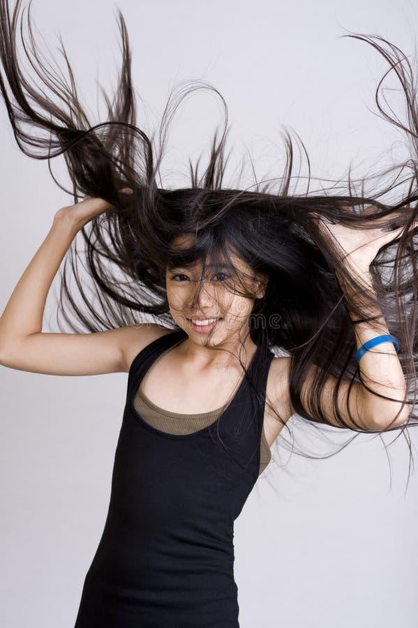 lång tonåring för hår mycket royaltyfri fotografi