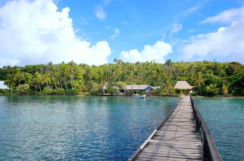 Lång träpir på Nananu-jag-rommar ö, Fiji arkivbild