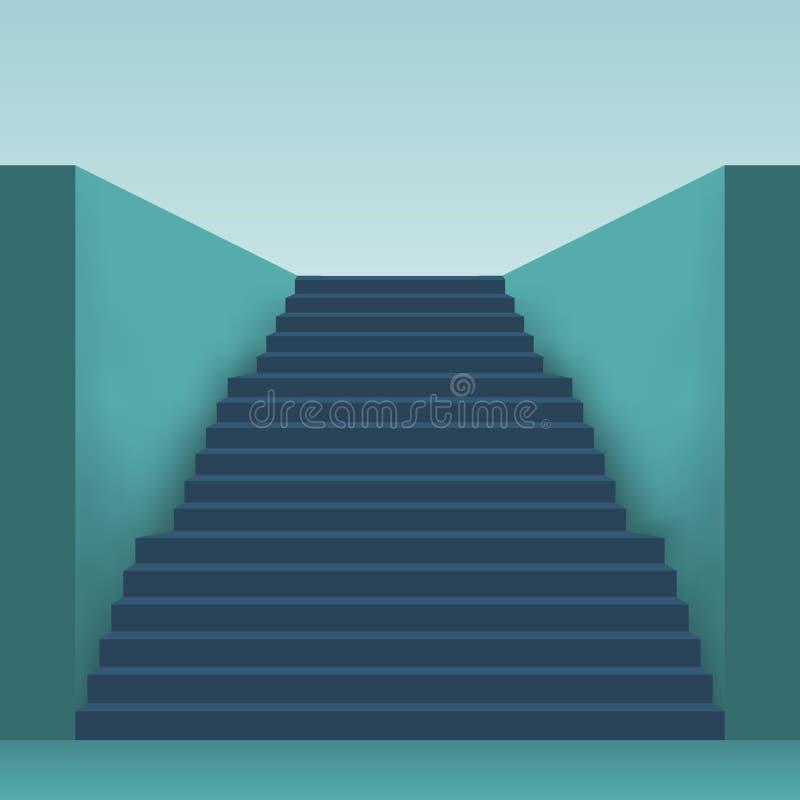 Lång trappa med många moment vektor illustrationer