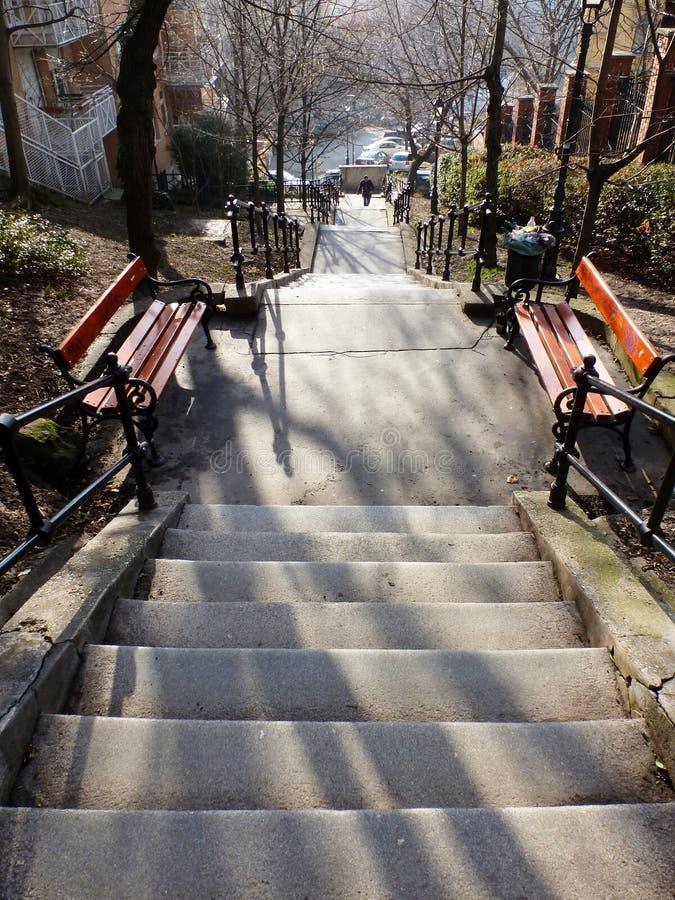 Lång trappa med mellanliggande landningar och bänkar arkivfoto