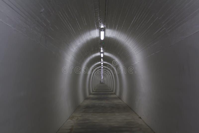 Lång vit fot- tunnel royaltyfri bild