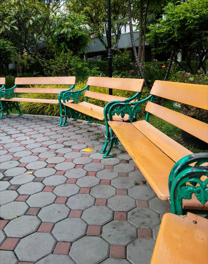 Långa bänkar på cementkvarter i trädgården royaltyfria foton