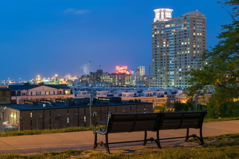 Långa exponeringar under nattetid på den federala kullen i Baltimore, M arkivfoto