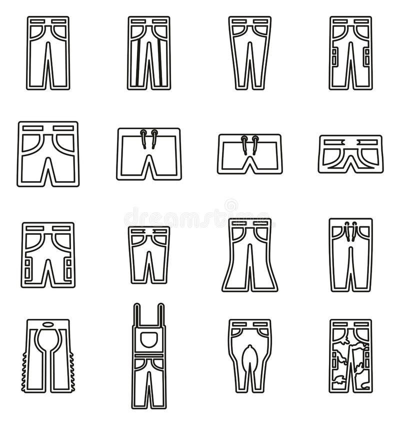 Långa flåsanden & korta symboler gör linjen vektorillustrationuppsättning tunnare stock illustrationer
