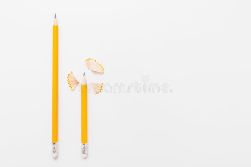 Långa och korta blyertspennor med shavings på vit royaltyfri fotografi