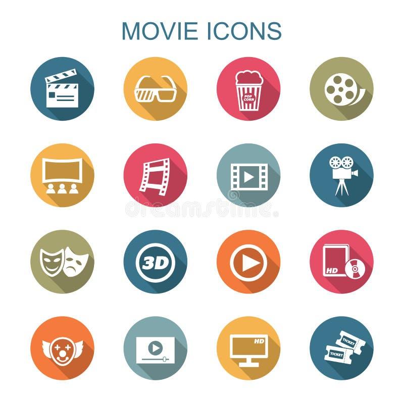 Långa skuggasymboler för film vektor illustrationer