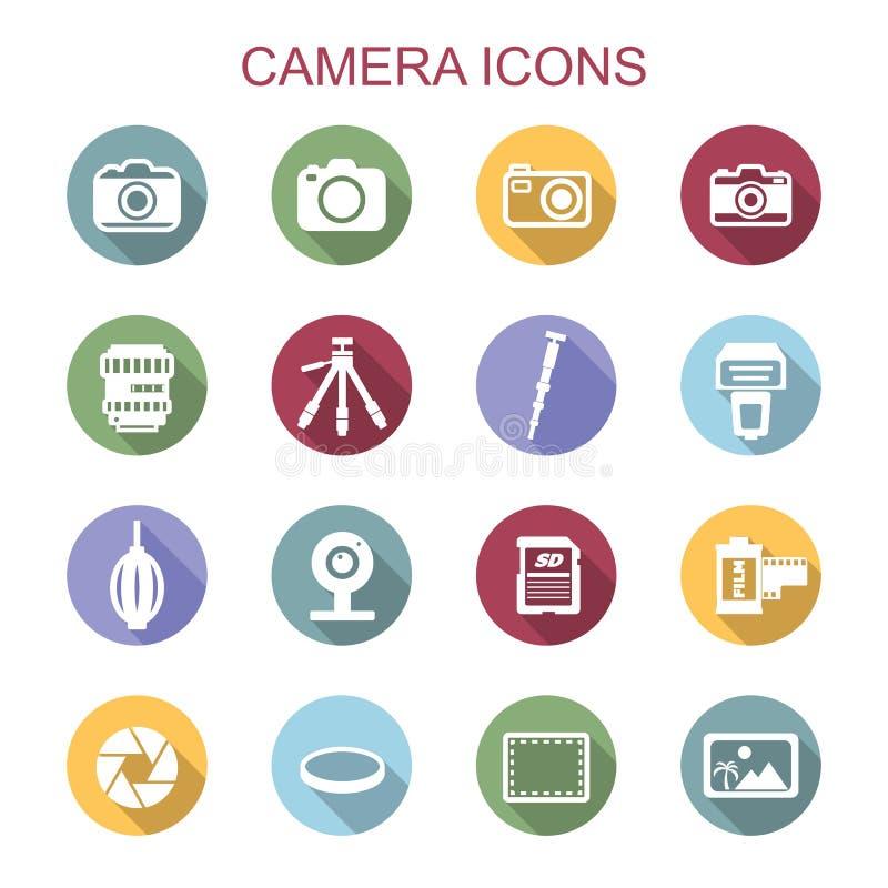 Långa skuggasymboler för kamera vektor illustrationer