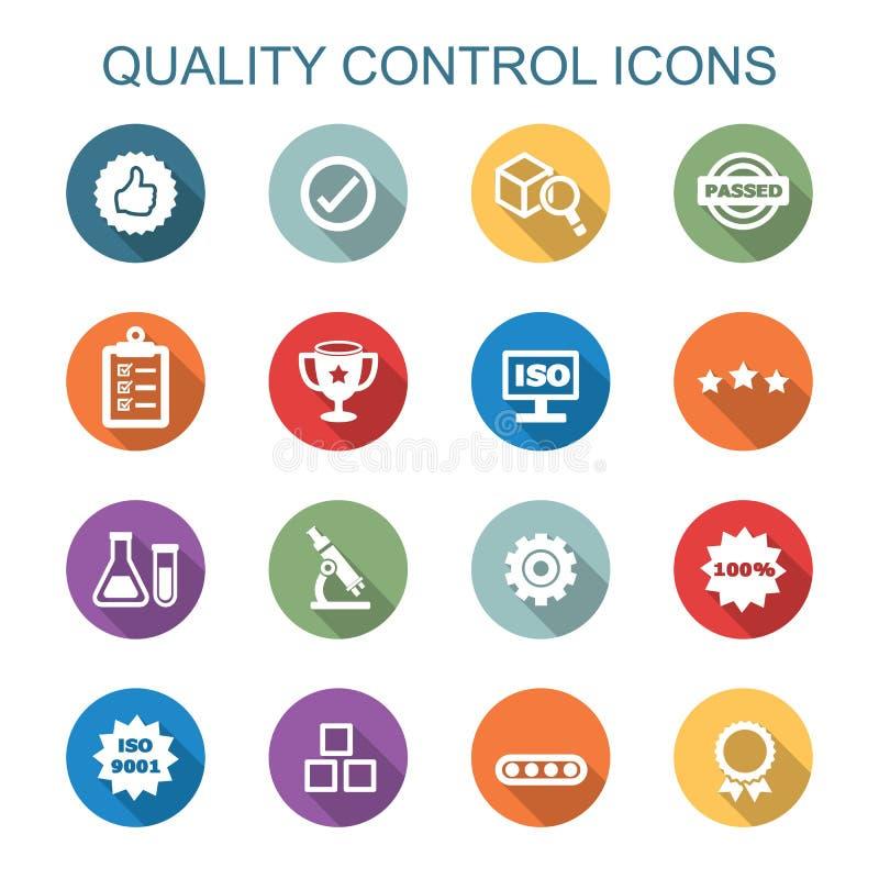 Långa skuggasymboler för kvalitets- kontroll royaltyfri illustrationer