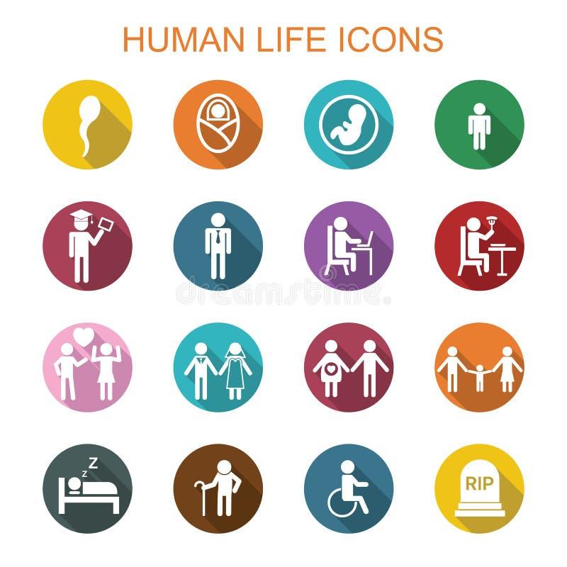 Långa skuggasymboler för människoliv royaltyfri illustrationer