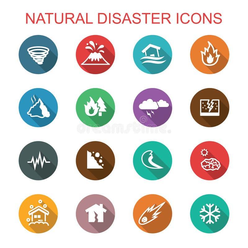 Långa skuggasymboler för naturkatastrof royaltyfri illustrationer