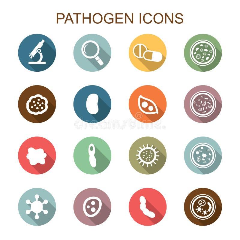 Långa skuggasymboler för patogen royaltyfri illustrationer