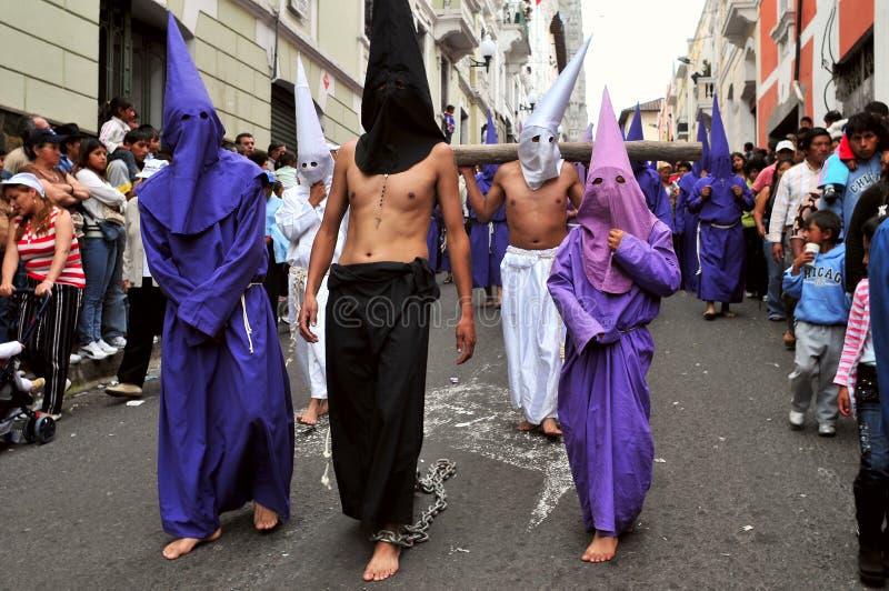 Långfredag (Viernes Santo) i Quito, Ecuador royaltyfria foton