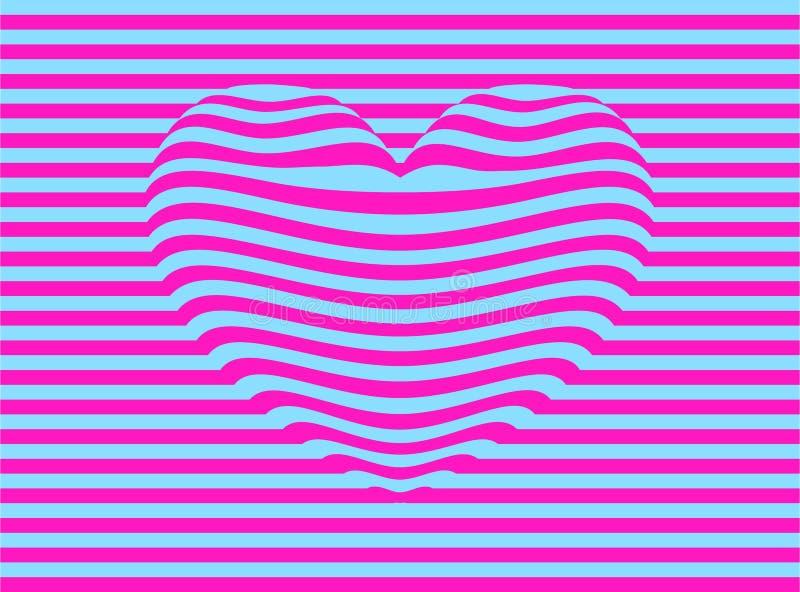 Långsträckt rosa färg- och blåtthjärta stock illustrationer