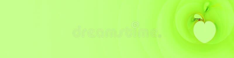 Långt baner i gröna mjuka skuggor med det stiliserade hjärta eller äpplet stock illustrationer