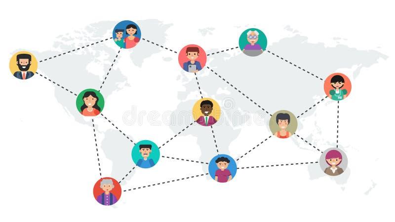 Långt baner - social nätverkande för begrepp stock illustrationer
