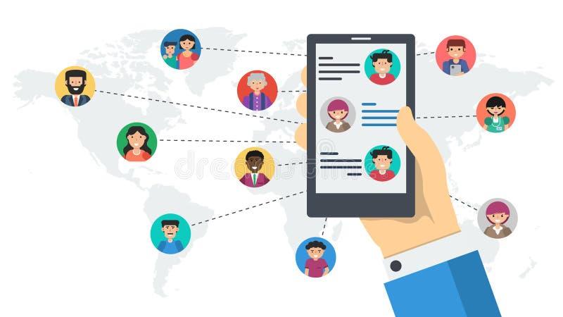 Långt baner - social nätverkande vid smartphonen royaltyfri illustrationer