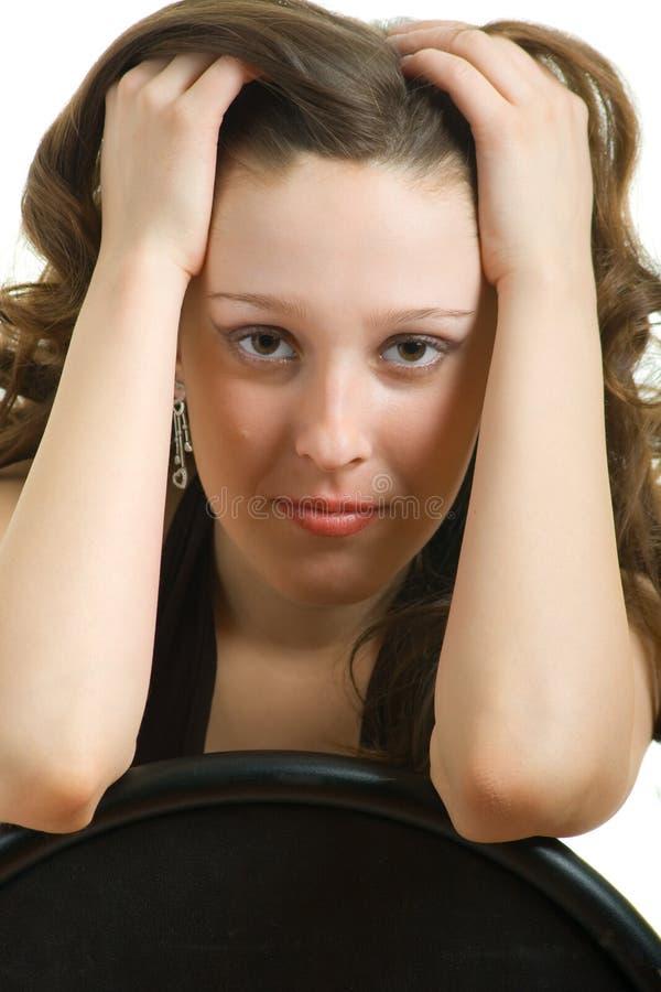 långt flickahår arkivfoton