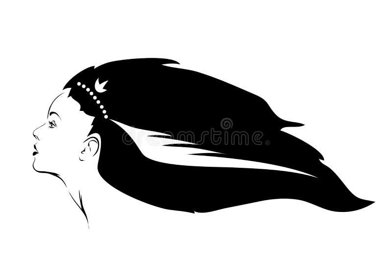 långt flickahår VeA _-tor royaltyfri illustrationer