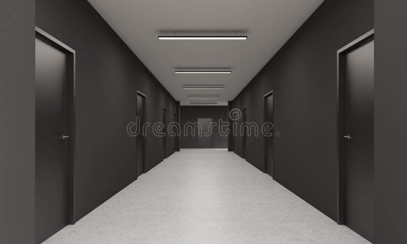 långt kontor för korridor royaltyfri illustrationer