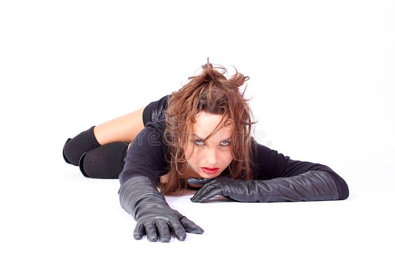 långt model slitage för svarta modehandskar arkivfoton