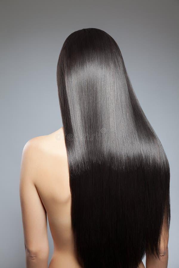Långt rakt hår royaltyfri bild