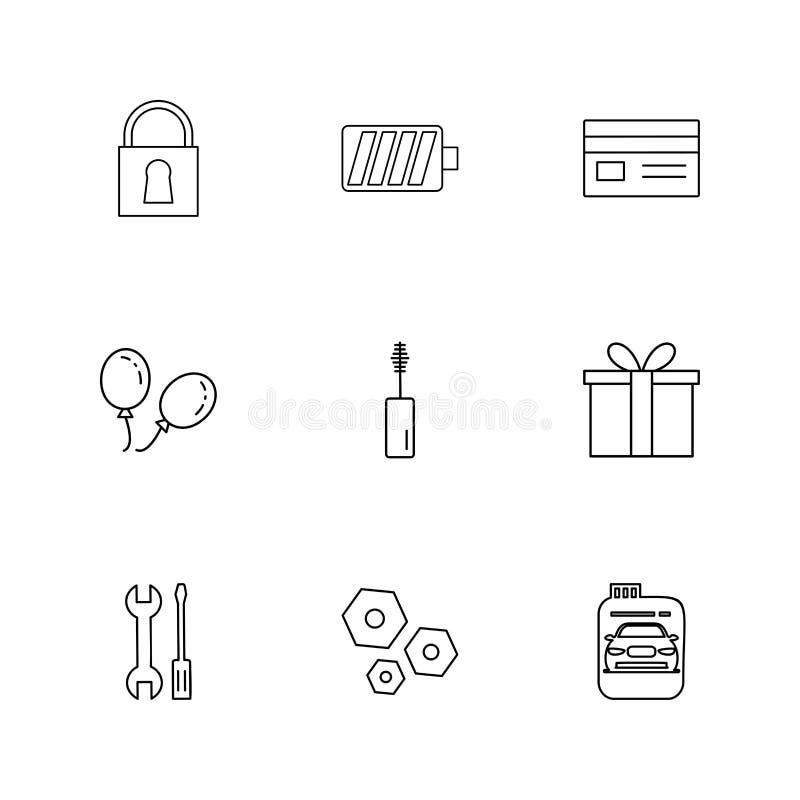 lås batteri, kort, giftbox, bil, maskara, mutter, bult, scr royaltyfri illustrationer