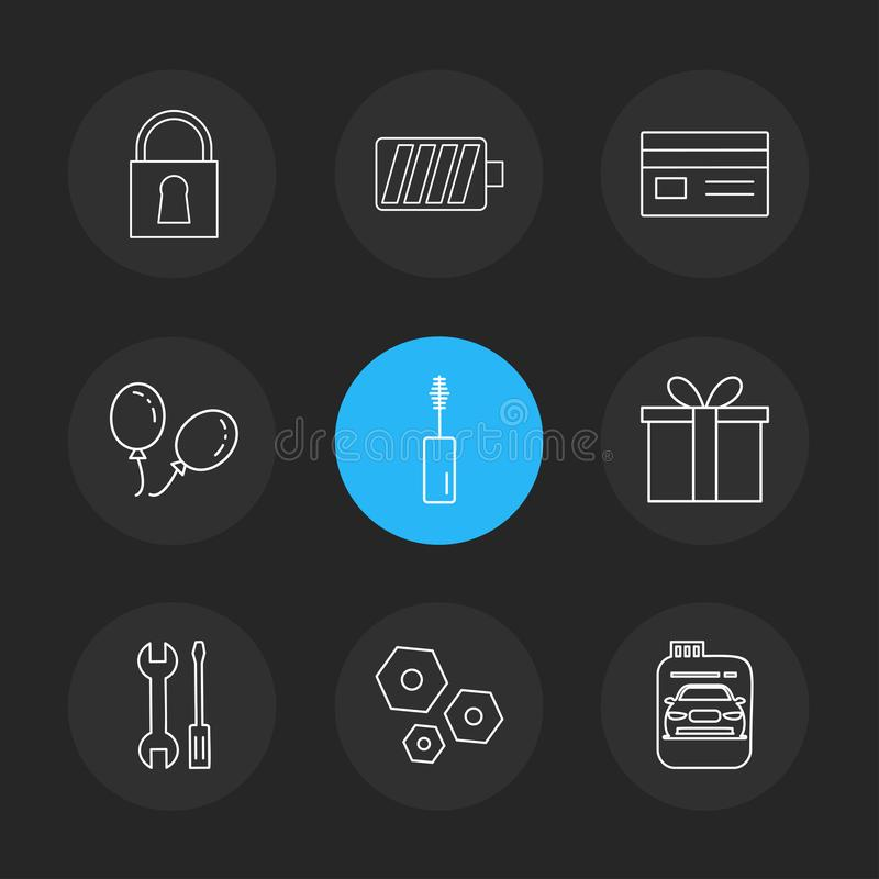 lås batteri, kort, giftbox, bil, maskara, mutter, bult, scr stock illustrationer