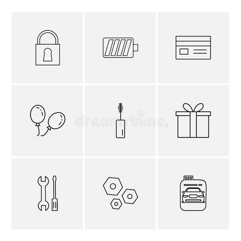 lås batteri, kort, giftbox, bil, maskara, mutter, bult, scr vektor illustrationer