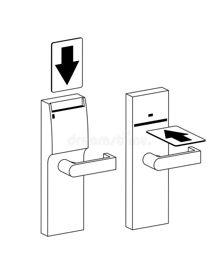lås för dörrhotellanvisningar royaltyfri illustrationer