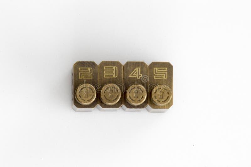Lås för låshackaövning som numreras med tangenter arkivfoto