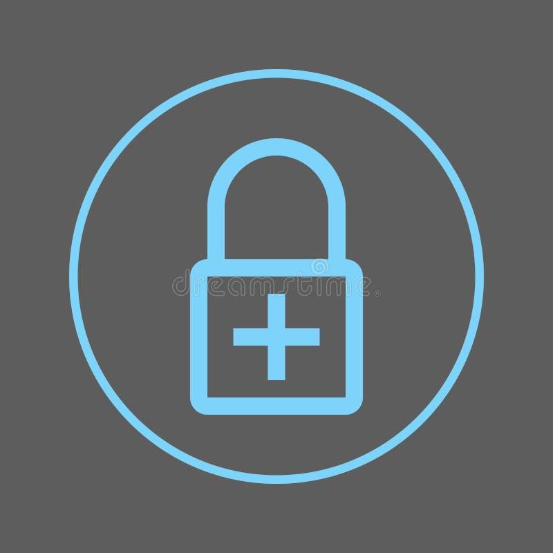 Lås med plus den runda linjen symbol Tillfoga det runda färgrika tecknet för kryptering Plant stilvektorsymbol stock illustrationer