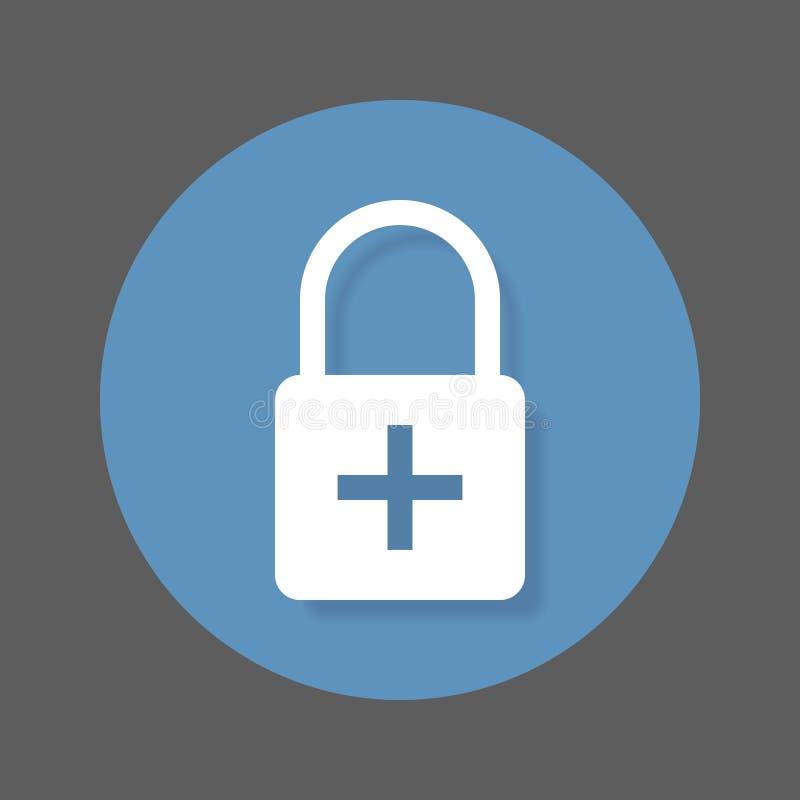 Lås med pluslägenhetsymbolen Den runda färgrika knappen, tillfogar det runda vektortecknet för kryptering med skuggaeffekt vektor illustrationer
