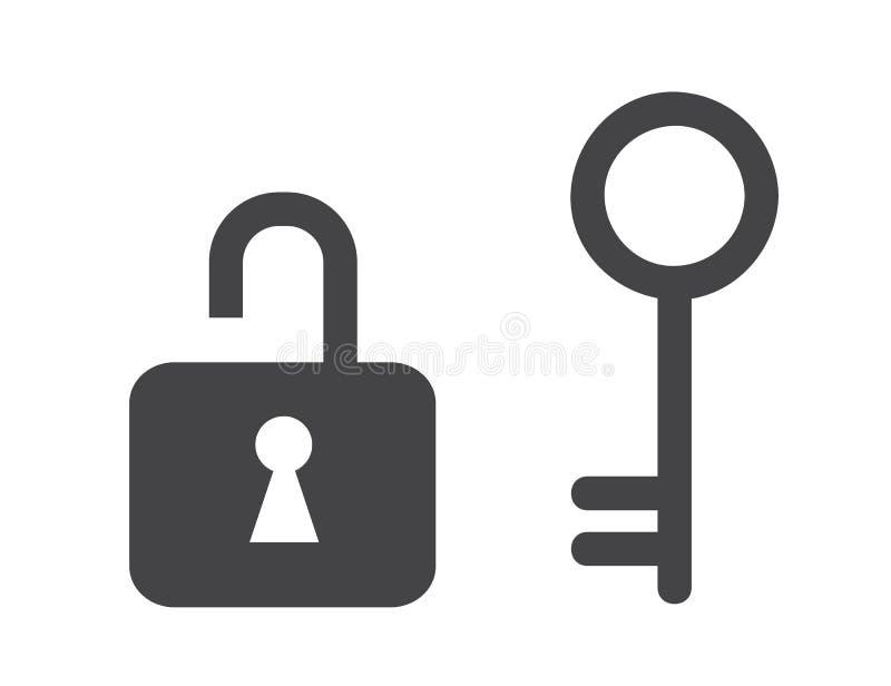 Lås och gammal nyckel- symbol stock illustrationer