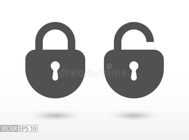 Lås - plan symbol stock illustrationer