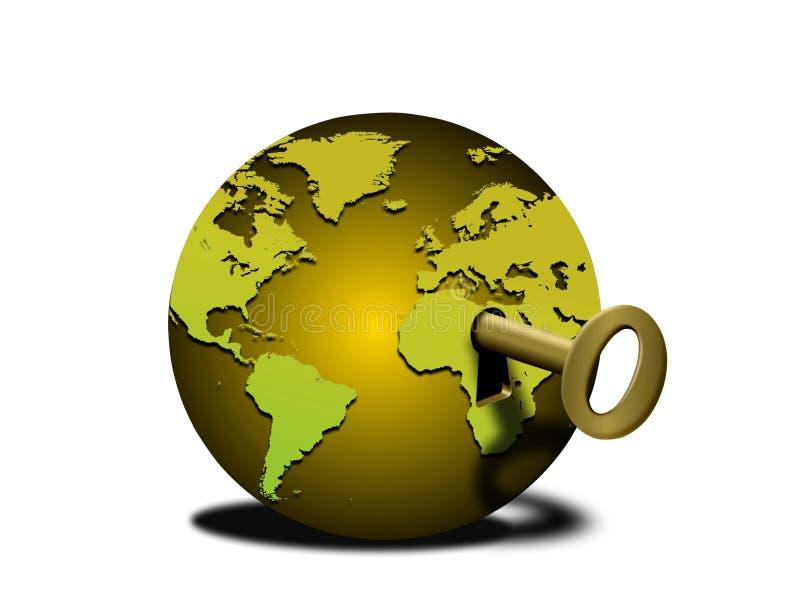lås världen upp royaltyfri illustrationer