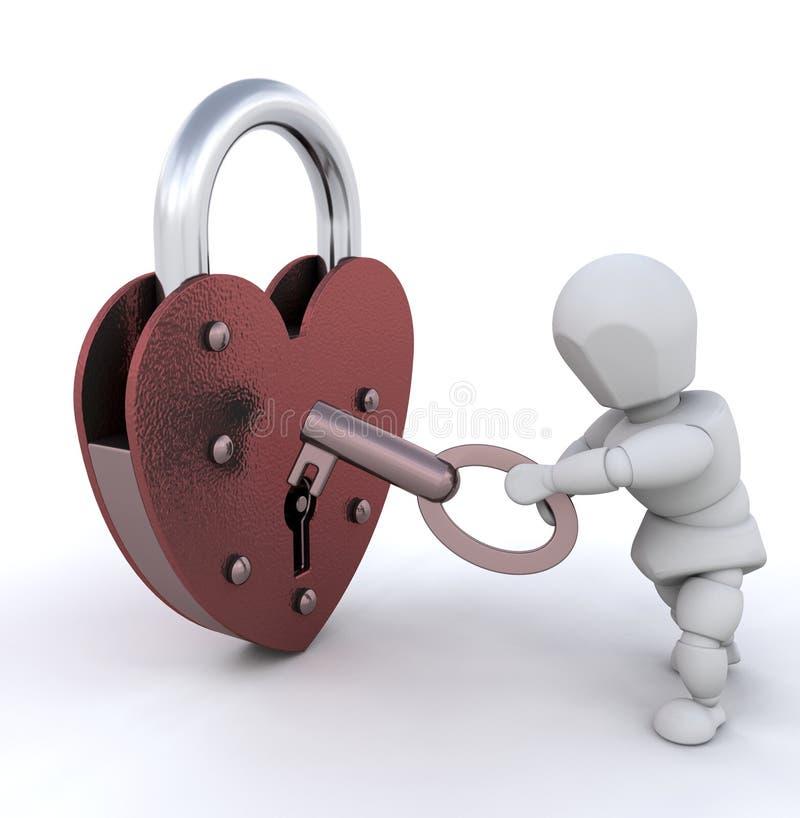 låsa för hjärta upp vektor illustrationer